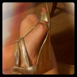 Isola Gold Leather Wedge Sandals 7.5M